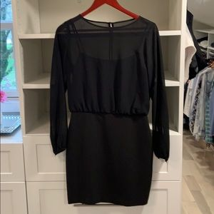 Banana Republic Sheer Sleeve Dress-Black